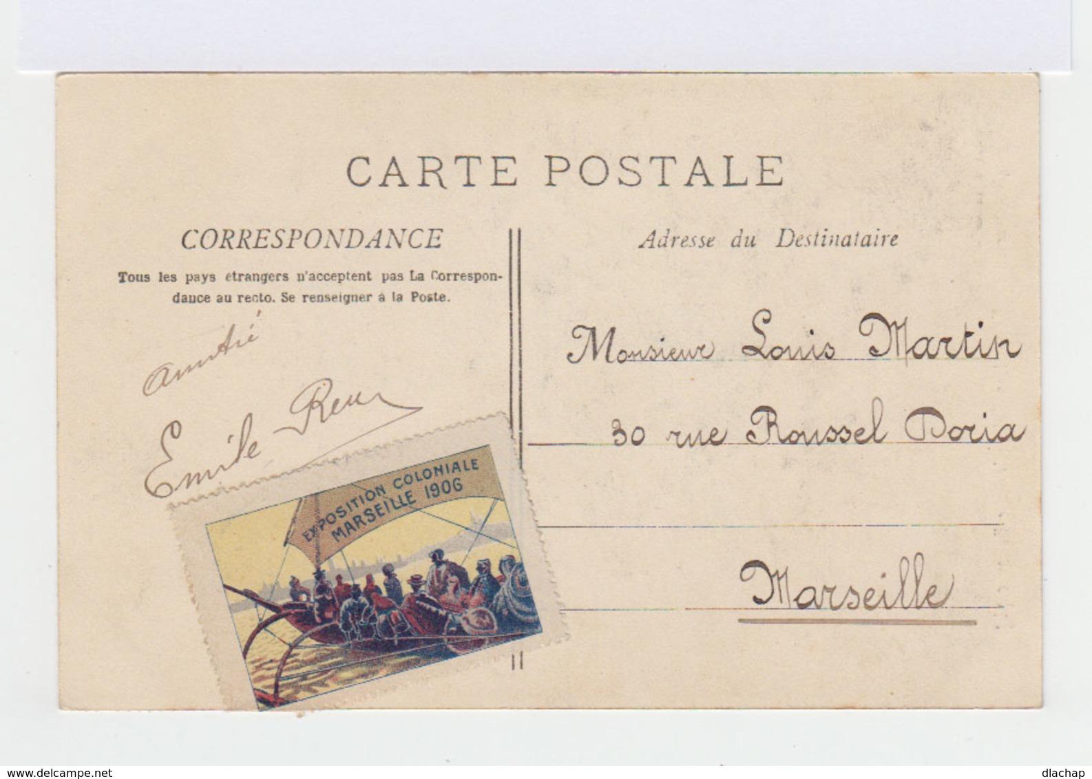 Carte Postale Marseille Vignette Exposition Coloniale. CAD Hexagonal Exposition Coloniale 1906. (761) - Marcophilie (Lettres)