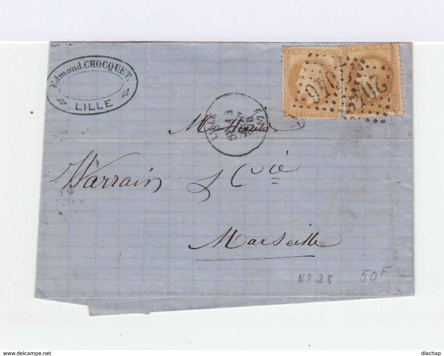 Sur Lettre Deux Timbres Empire Français Napoléon III Lauré 10 C. Bistres. Oblitération 1870 Losange Gros Chiffres (769) - Marcophilie (Lettres)