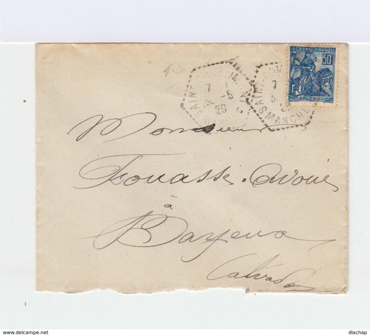 Sur Enveloppe Timbre 50 C Bleu. Délivrance D'Orléans. CAD Hexagonal 1929. (771) - 1921-1960: Période Moderne