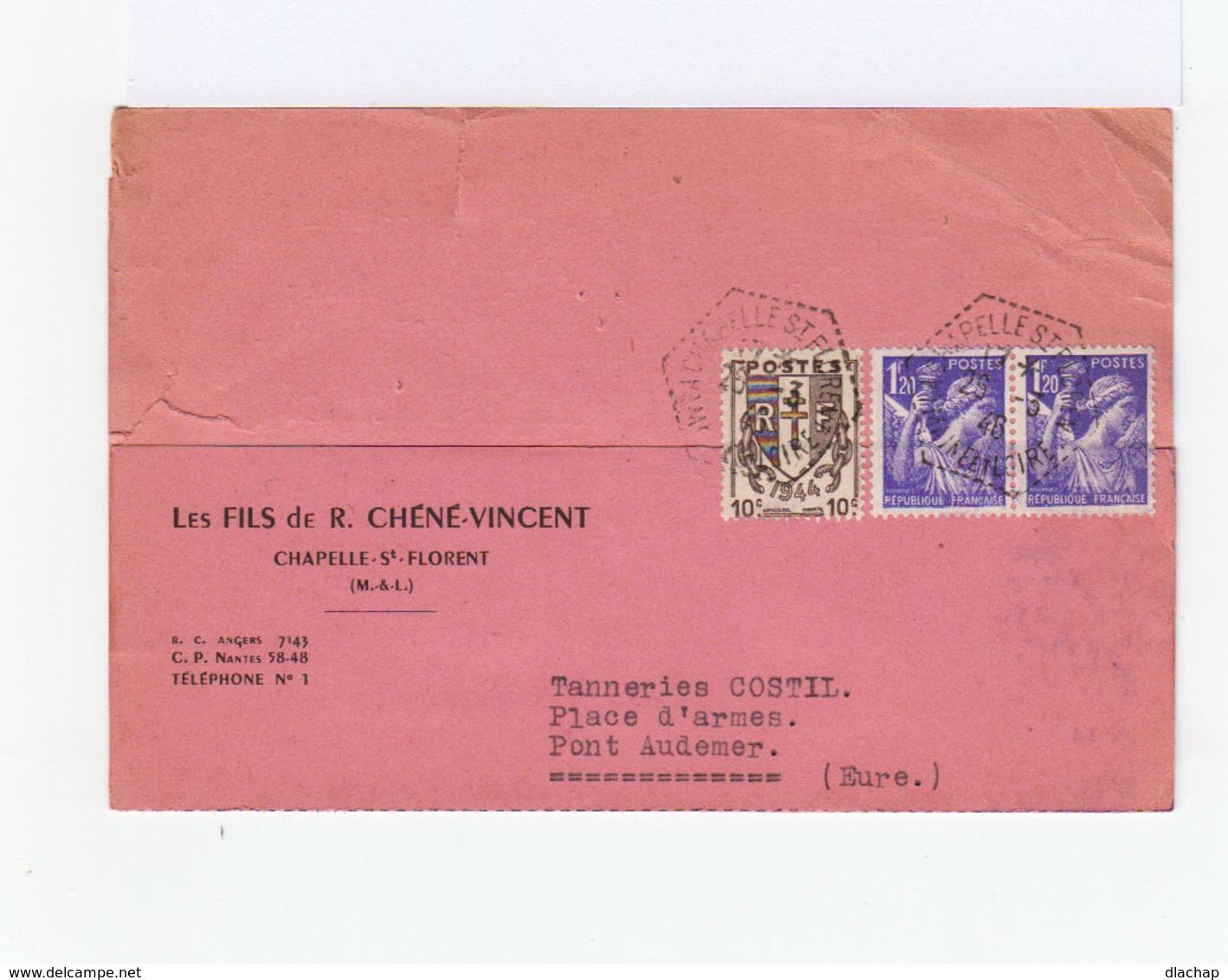 Sur Carte De Correspondance Type Chaînes Brisées 10 C. Brun Et Paire De Type Iris Violets. CAD Hexagonal 1948. (772) - Marcophilie (Lettres)