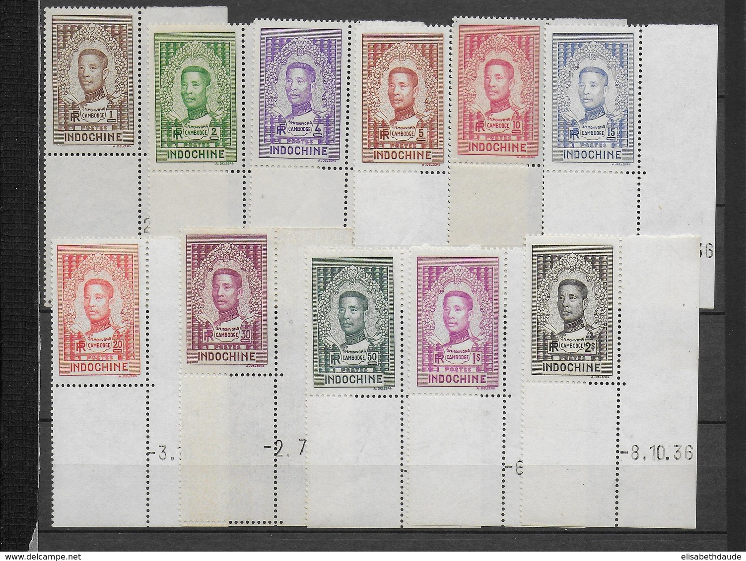 INDOCHINE - 1936 - YVERT 182/192 ** MNH BORD DE FEUILLE COIN DATE - COTE = 44 EUR. - Neufs