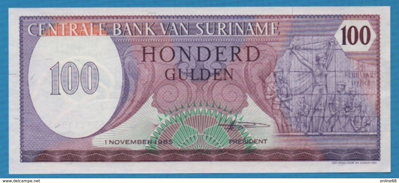 SURINAME 100 Gulden01.11.1985# 0631111365 KM# 128b - Surinam