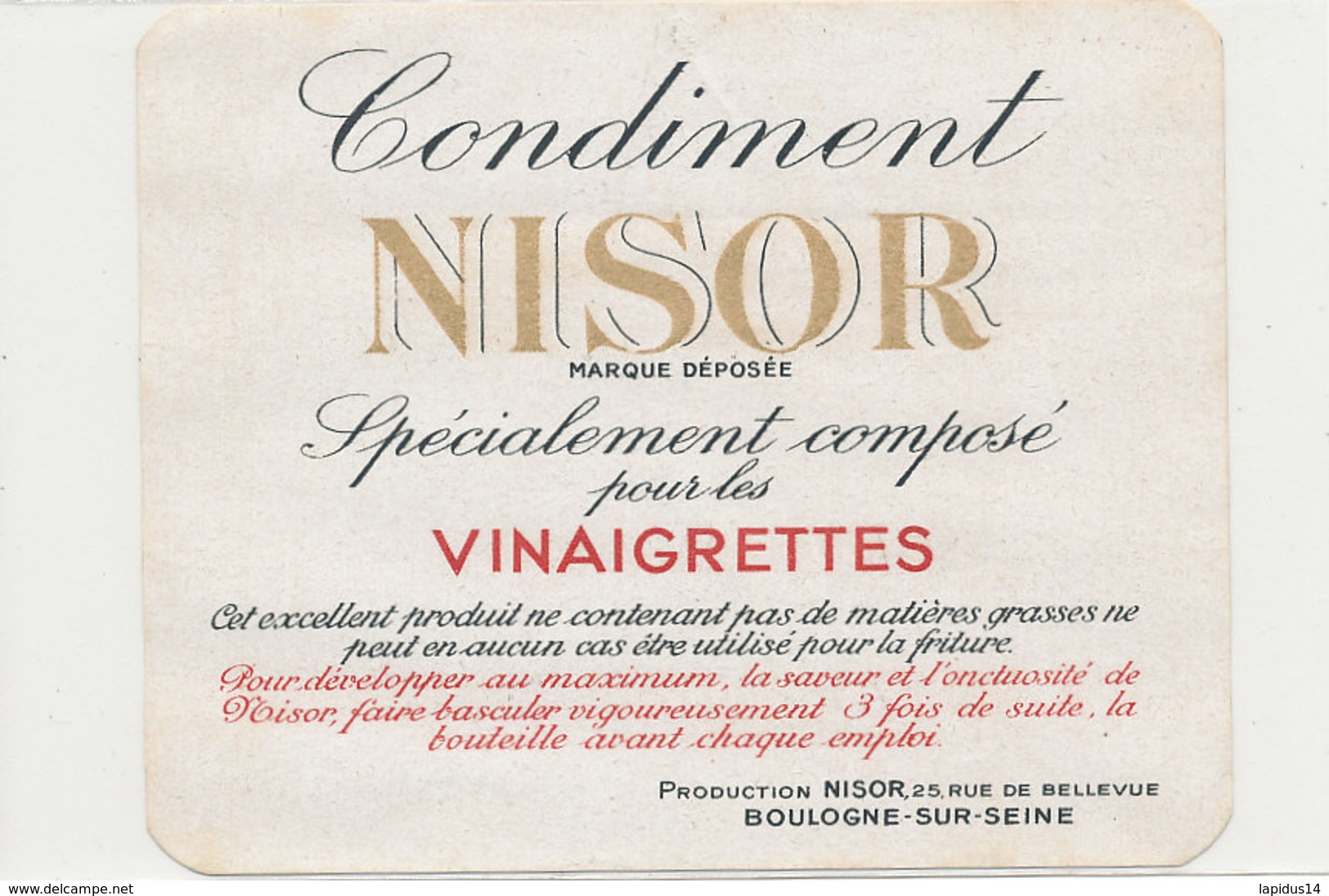 VI 98  - ETIQUETTE VINAIGRE  CONDIMENT NISOR POUR   LES VINAIGRETTES  BOULOGNE SUR MER - Labels