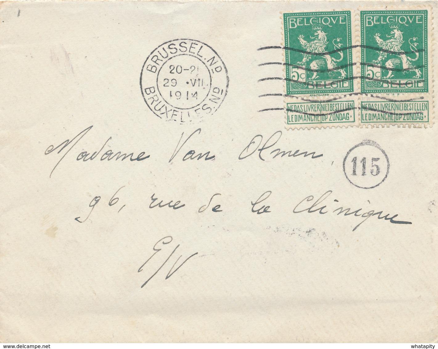 481/27 -- Enveloppe Avec Contenu 2 X TP Pellens BRUXELLES 29 VII 1914 - Texte Intéressant Sur La MOBILISATION - Invasion