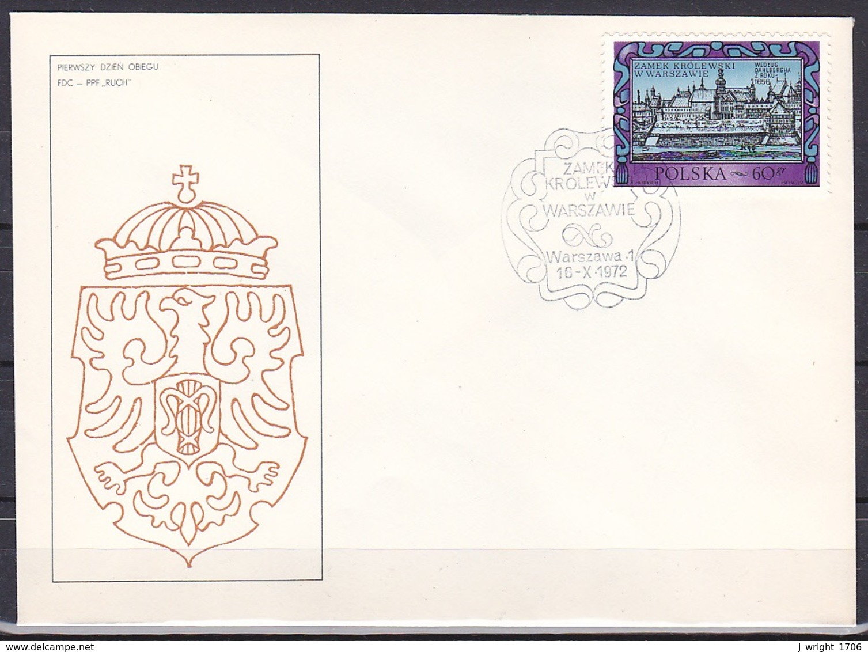 Poland/1972 - Royal Castle Reconstruction/Zamek Krolewski W Warszawie - 60 Gr - FDC - FDC