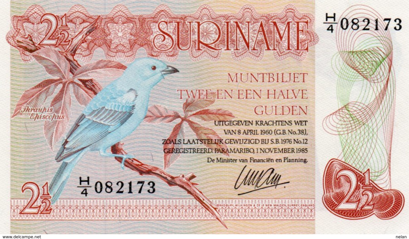 SURINAME 2½ Gulden 1985  P-119 UNC - Surinam