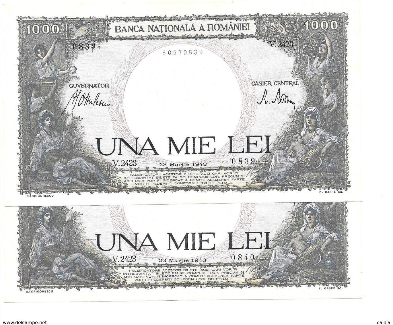 Roumanie Romania 1000 Lei 1943 UNC - 2 Consecutives # 3 - Rumänien