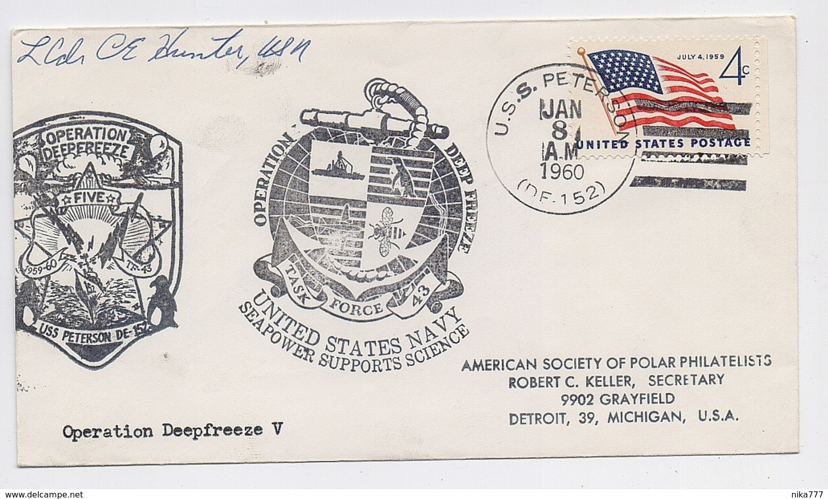 ANTARCTIC South Pole Mail Cover Polar Ship USA Deep Freeze Signature - Forschungsstationen