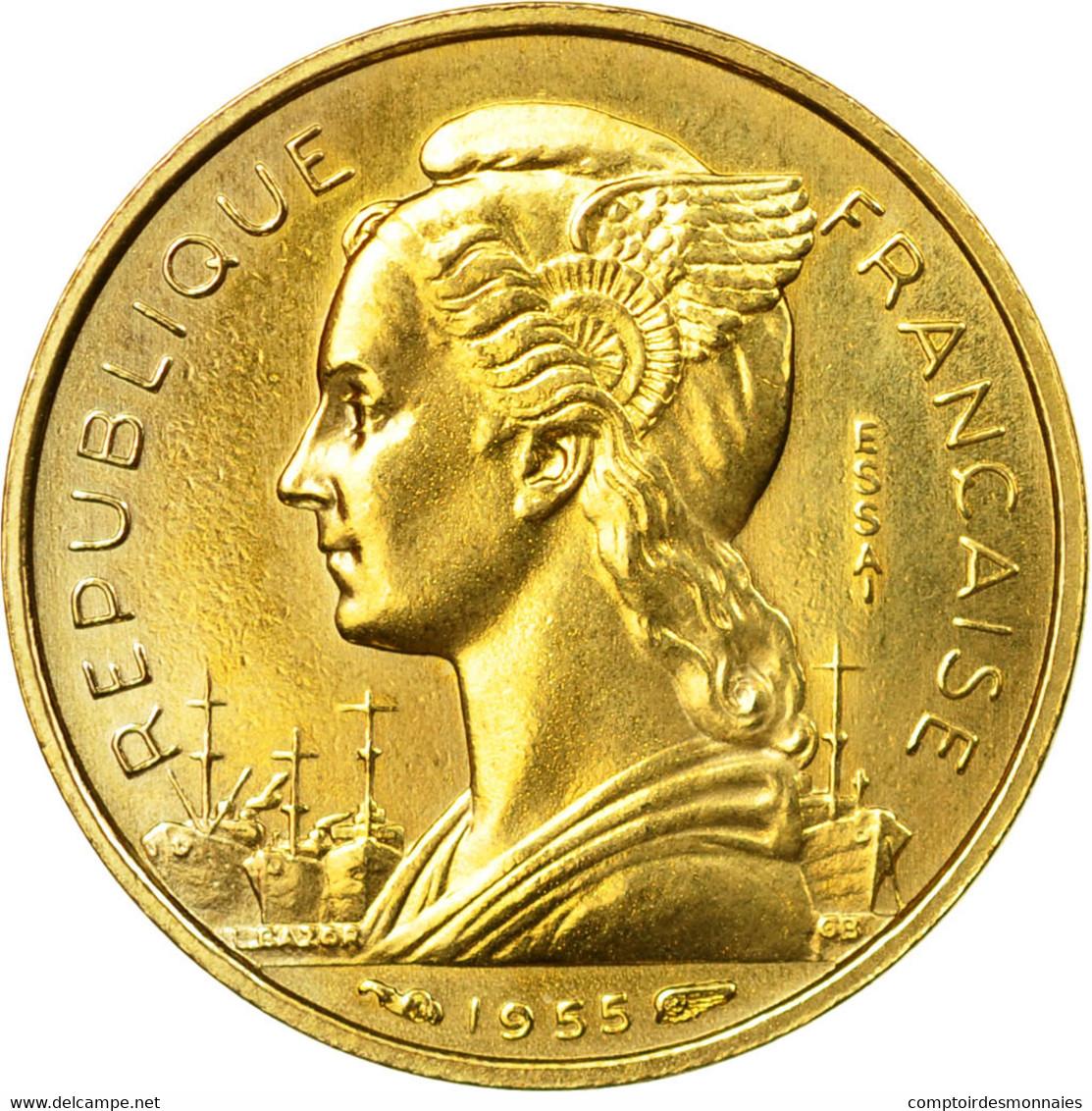 Monnaie, Réunion, 10 Francs, 1955, Paris, ESSAI, SUP+, Aluminum-Bronze, KM:E6 - Réunion