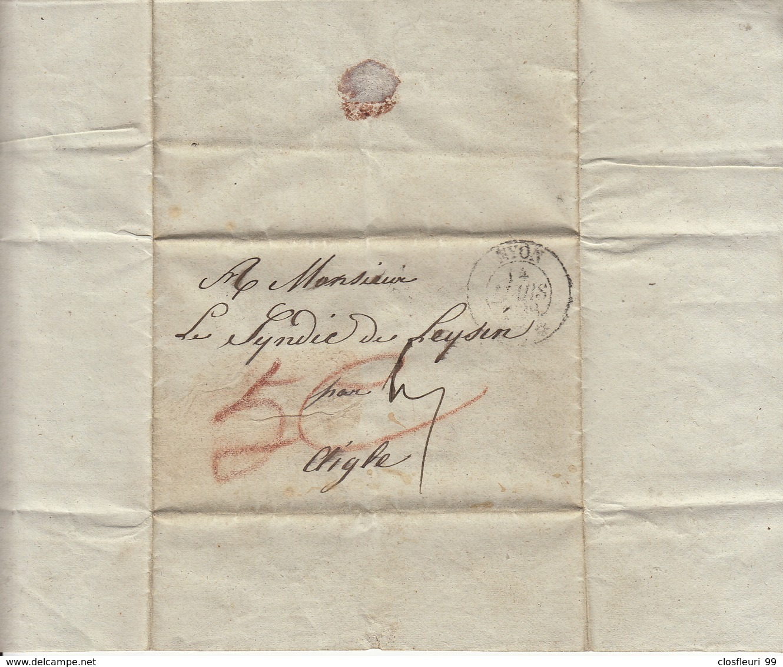 De Nyon,lettre à M. Le Syndic De Leysin En 14 Mars 1838 - ...-1845 Prephilately