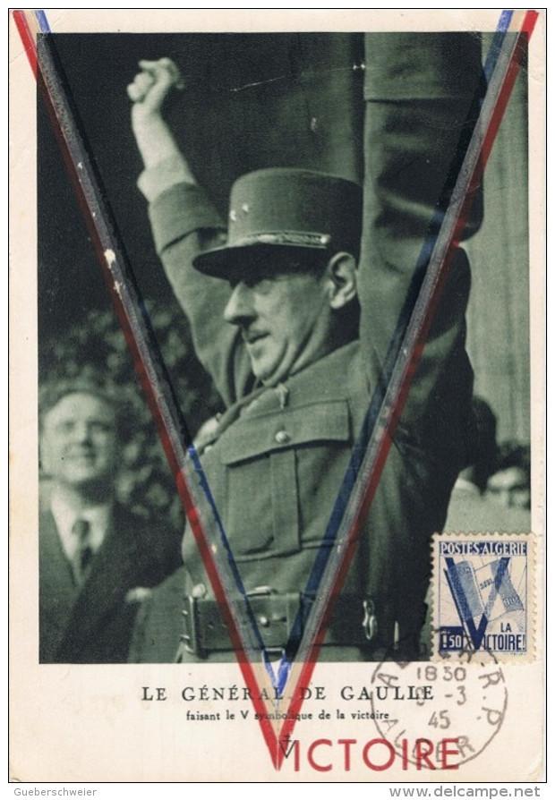 FR-CM14 - ALGERIE Carte Maximum VICTOIRE 1945 Avec Le Général De Gaulle - WW2