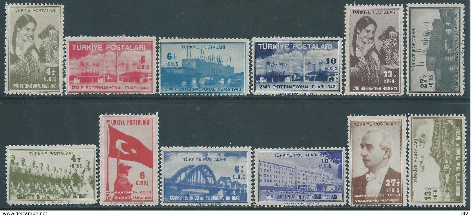 Turkey  Turchia -1943  Izmir International Fair & 1943 The 20th Anniversary Of The Republic ,MNH Series - 1921-... Republic