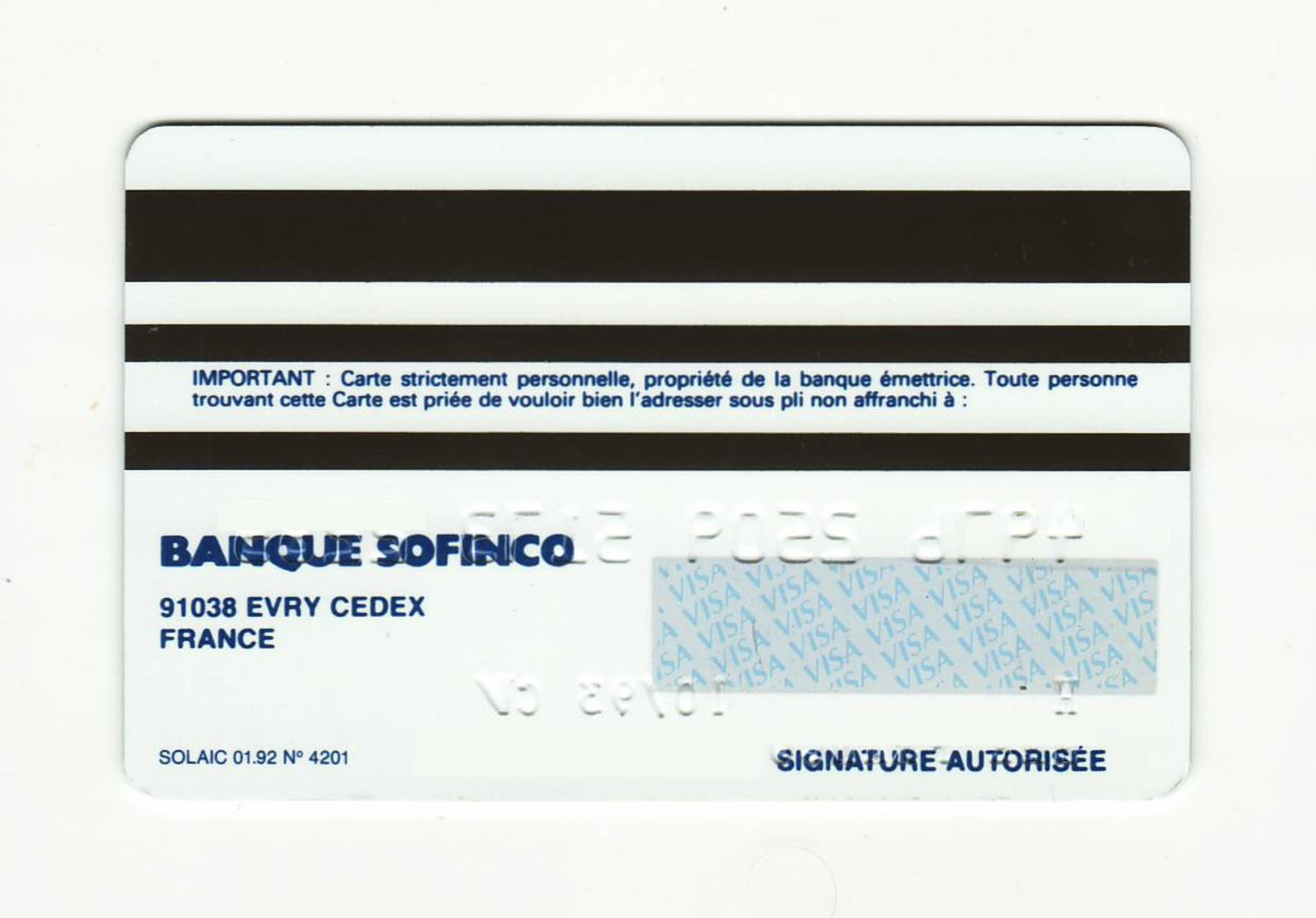Banque Sofinco FRANCE Carte Bleue VISA Expired 1993 - Cartes De Crédit (expiration Min. 10 Ans)