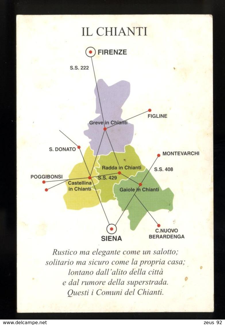 B772VINO VINICOLTURA - IL CHIANTI - MAPPA DEI COMUNI PRODUTTORI CON ANNULLO SUL RETRO MACELLERIA CHINI GAIOLI IN CHIANTI - Italia