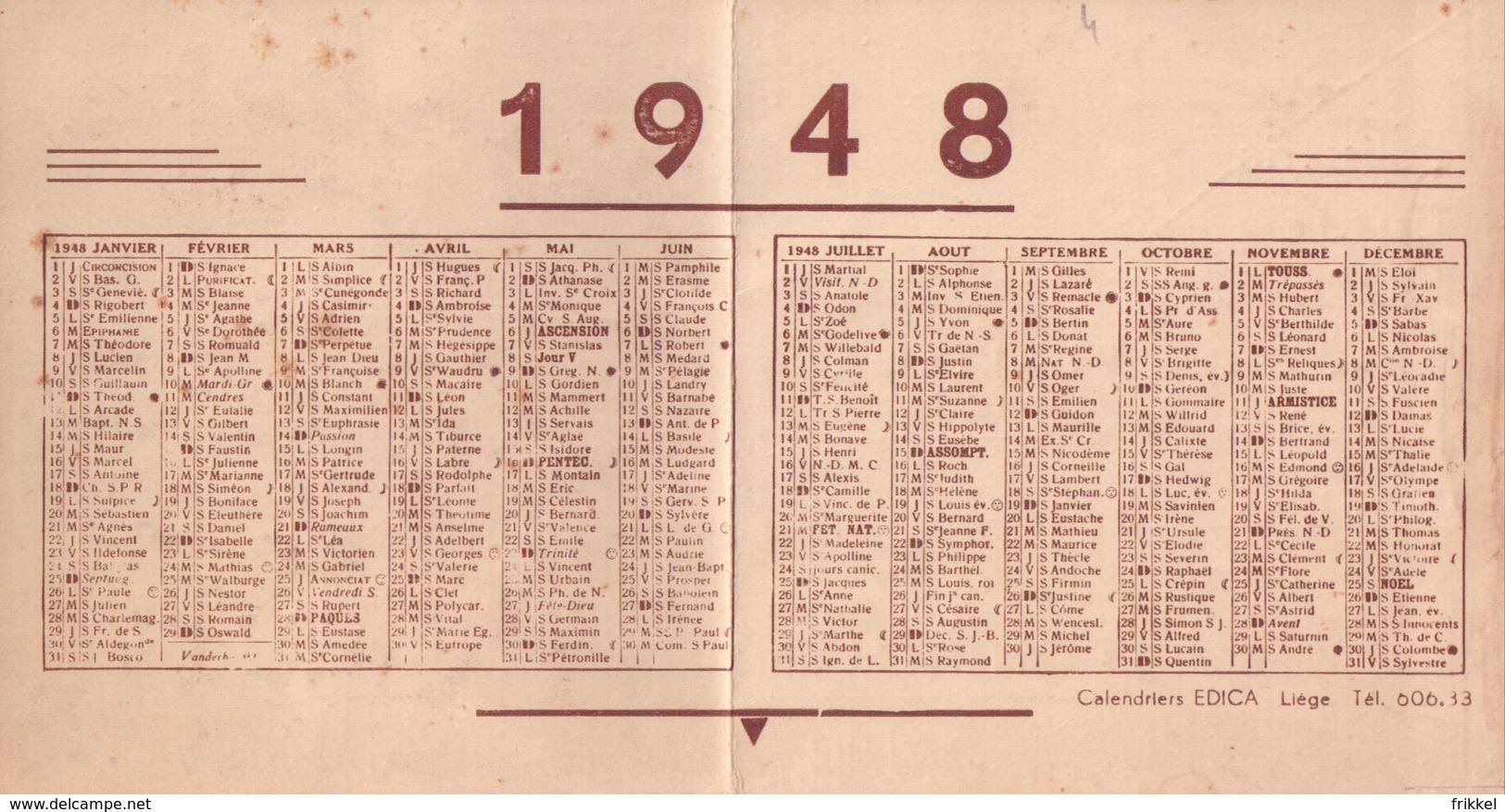 Liège Pâtisserie Lucien Horevoets Massillon Kalender Calendrier 1948 (2 Scans) - Calendriers