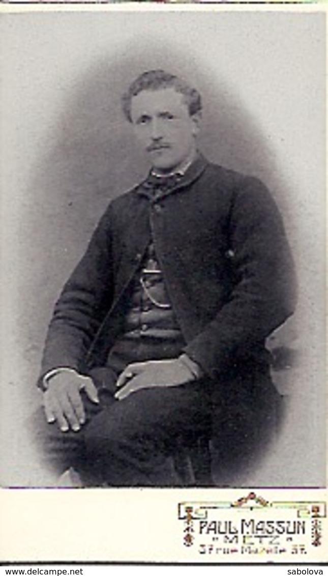 Photo 10,5 Sur 6,4 Homme  Photographe Paul MASSUN METZ 37 Rue Mazelle - Anciennes (Av. 1900)