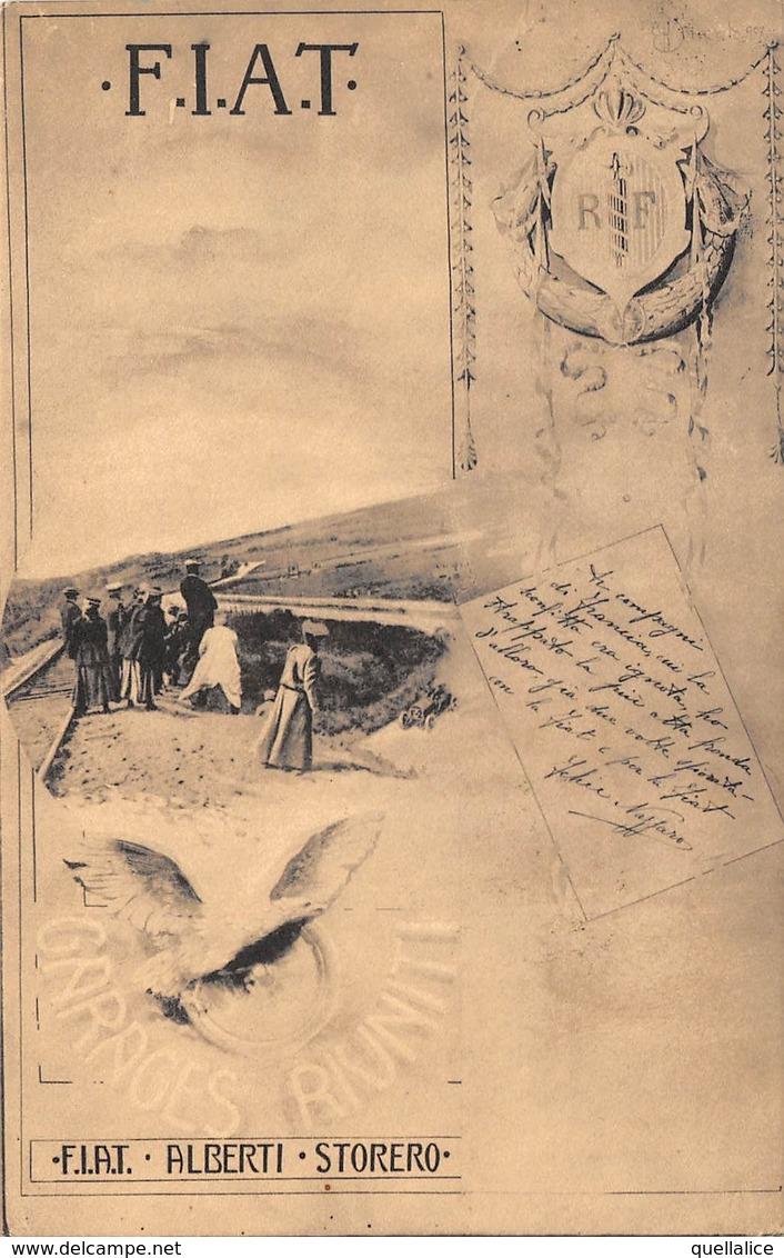 """0602 """"TORINO - FIAT - ALBERTI STORERO - GARAGES RIUNITI"""" ANIMATA. CART  SPED 1910 - Publicité"""