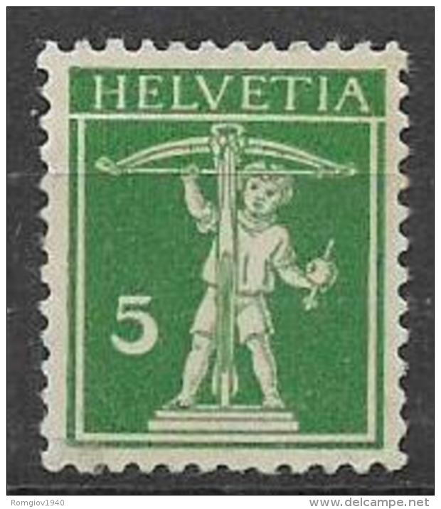 SVIZZERA  1910-11   WALTER TELL NUOVO TIPO MODIFICATO UNIF. 136a MNH - Svizzera