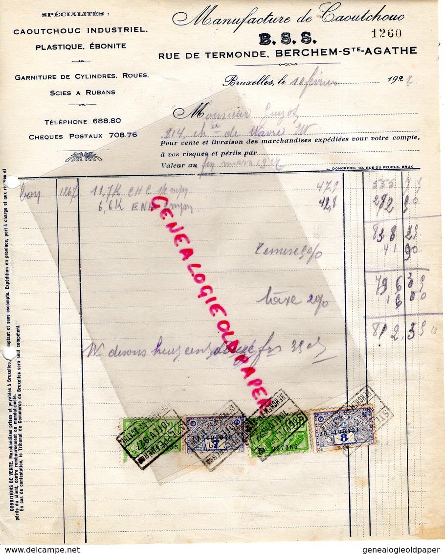 BELGIQUE BRUXELLES-RARE FACTURE MANUFACTURE CAOUTCHOUC- B.S.S.-BERCHEM SAINTE AGATHE-EBONITE- RUE DE TERMONDE-1927 - Printing & Stationeries
