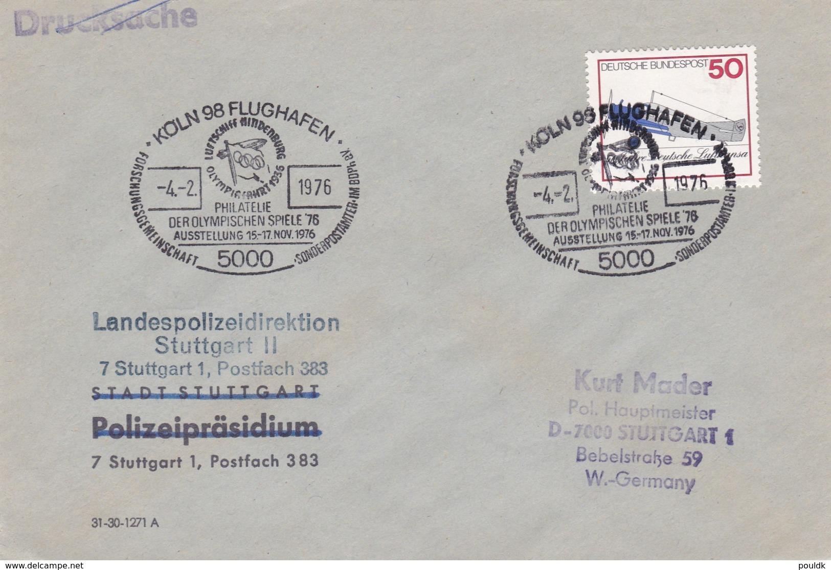 Cover From Kandespolizeidirektion Stuttgart II Posted Köln 98 Flughafen 1976 Philatelie Der Olympischen Spiele (G91-52) - Police - Gendarmerie