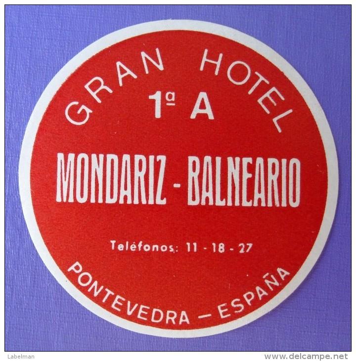 HOTEL ALBERGO RESIDENCIA MONDARIZ PONTEVEDRA SPAIN ETIQUETA LUGGAGE LABEL ETIQUETTE AUFKLEBER DECAL STICKER MADRID - Hotel Labels