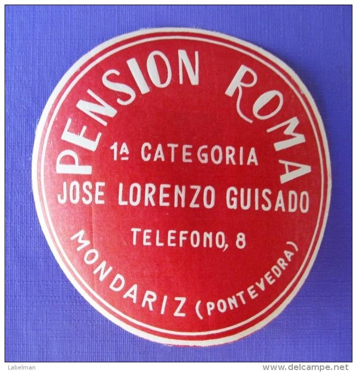 HOTEL ALBERGO RESIDENCIA ROMA MONDARIZ PONTEVEDRA SPAIN ETIQUETA LUGGAGE LABEL ETIQUETTE AUFKLEBER DECAL STICKER MADRID - Hotel Labels