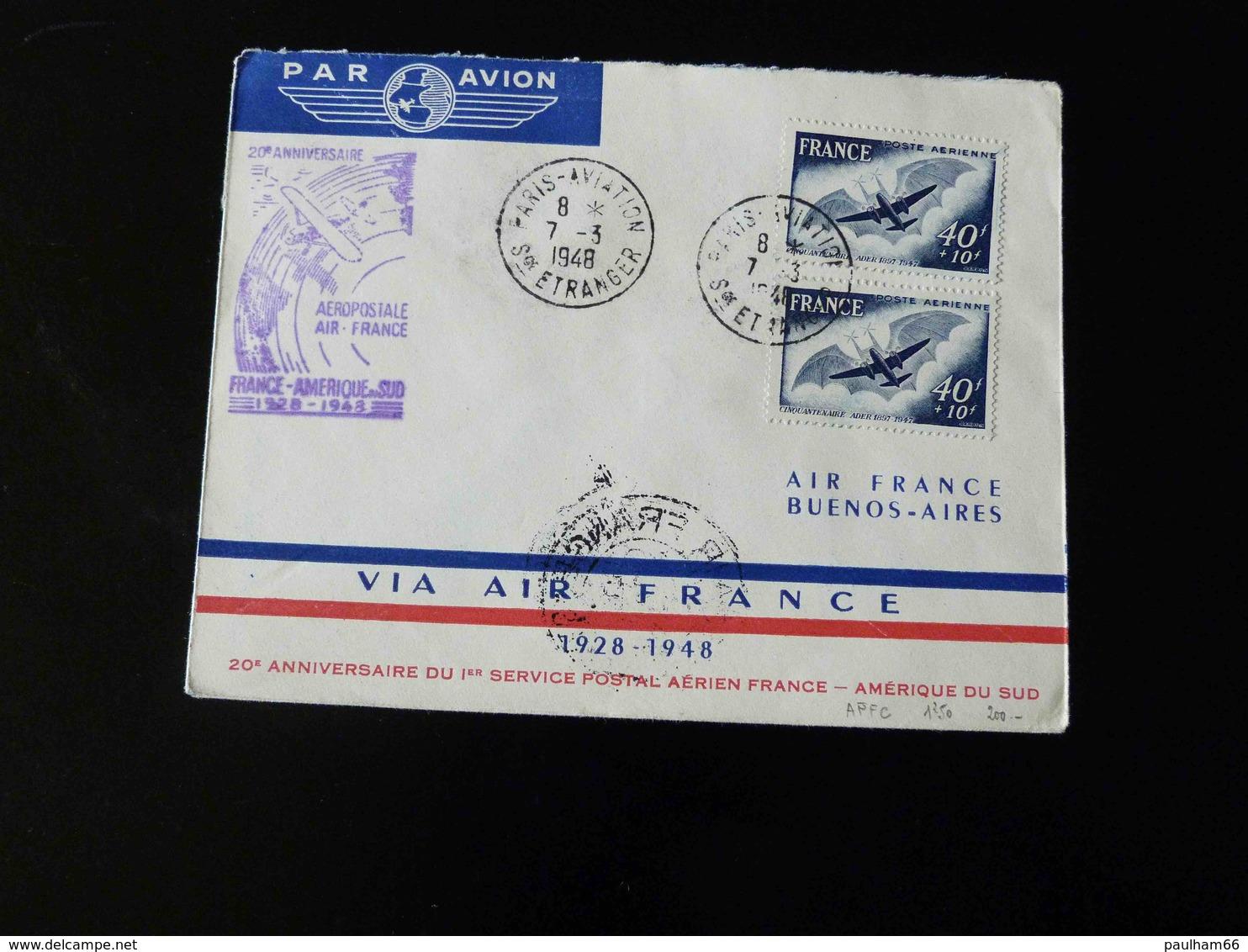 POSTE AERIENNE  - 20 IEME ANNIVERSAIRE DU 1 ER SERVICE POSTAL AERIEN FRANCE AMERIQUE DU SUD - AIR FRANCE BUENOS AIRES - - Postmark Collection (Covers)