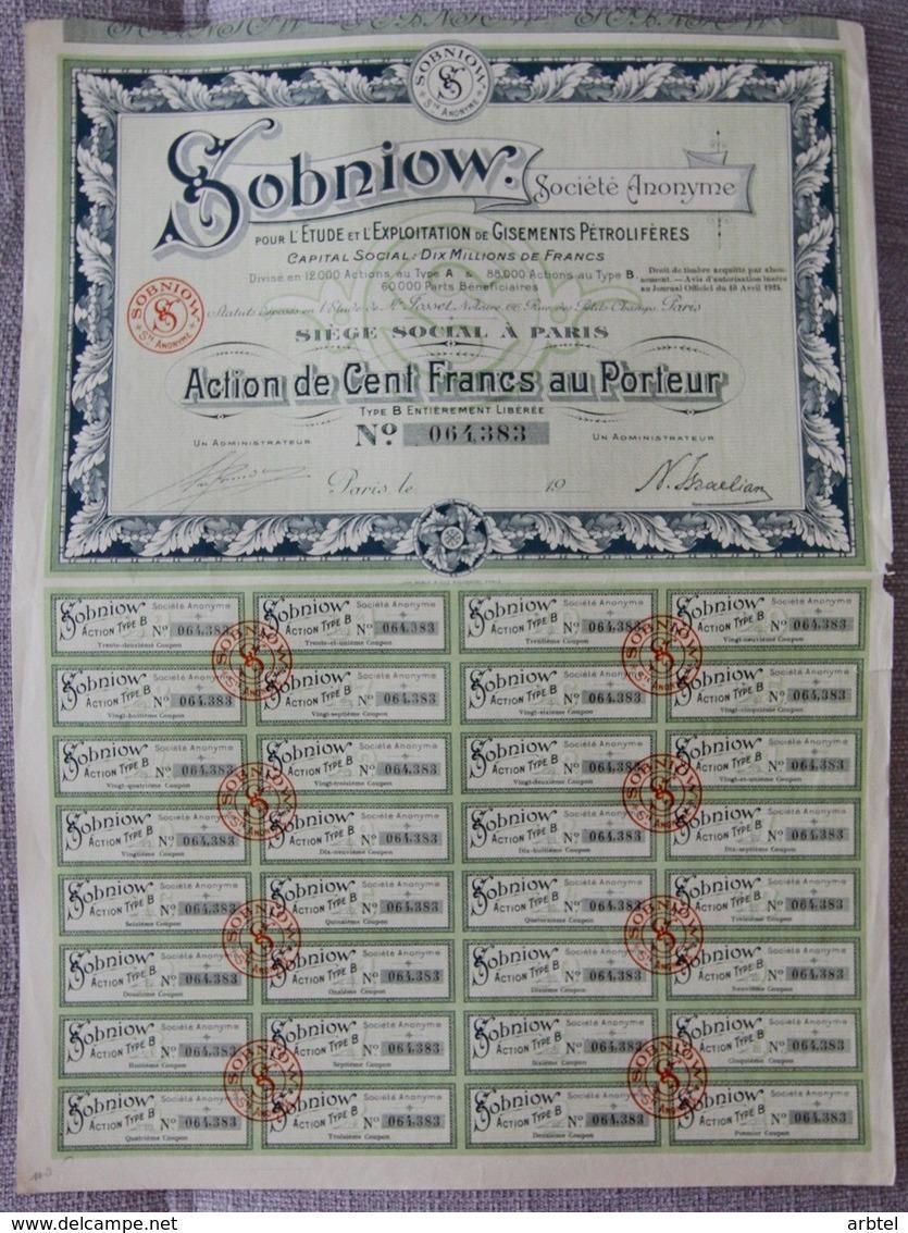 FRANCIA ACCION COMPAÑIA SOBNIOW 1924 PETROLEO MINERIA PETROL OIL MINNING - Mineral