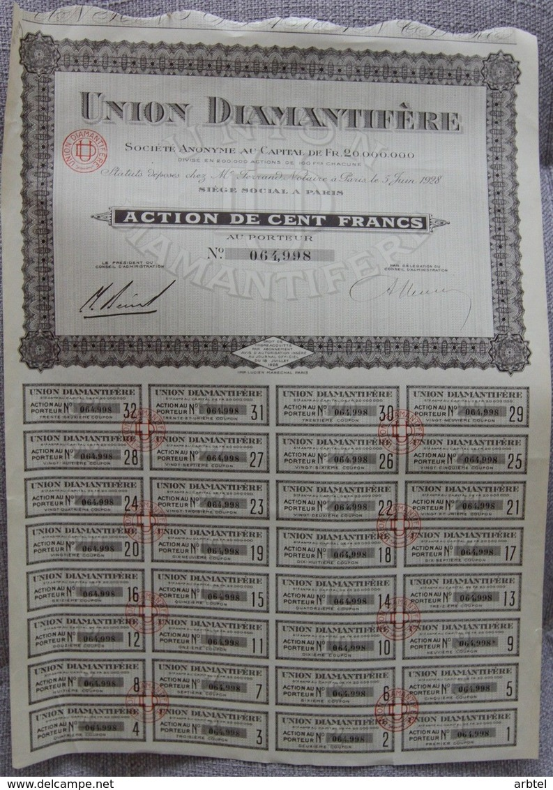 FRANCIA ACCION DE UNION DIAMANTIFERE 1928 DIAMANTE MINERIA - Mineral