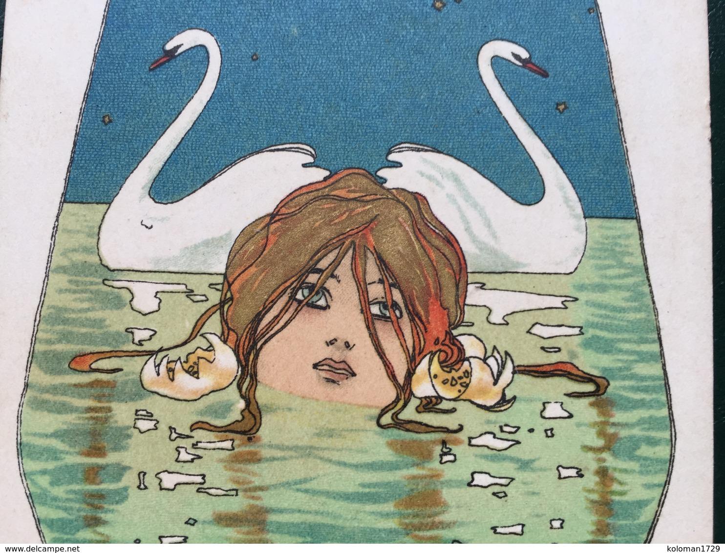 Art Nouveau - Raphael Kirchner - Leda E Il Cigno - Rif. Dell'Aquila K8-3 - Kirchner, Raphael
