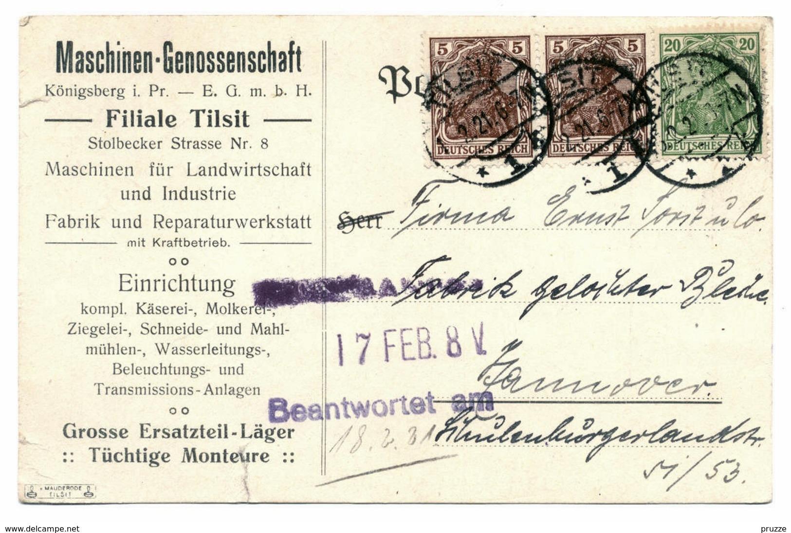 Firmen - Ganzsache Maschinen-Genossenschaft Tilsit / Ostpreussen 1921 - Nach Hannover - Deutschland