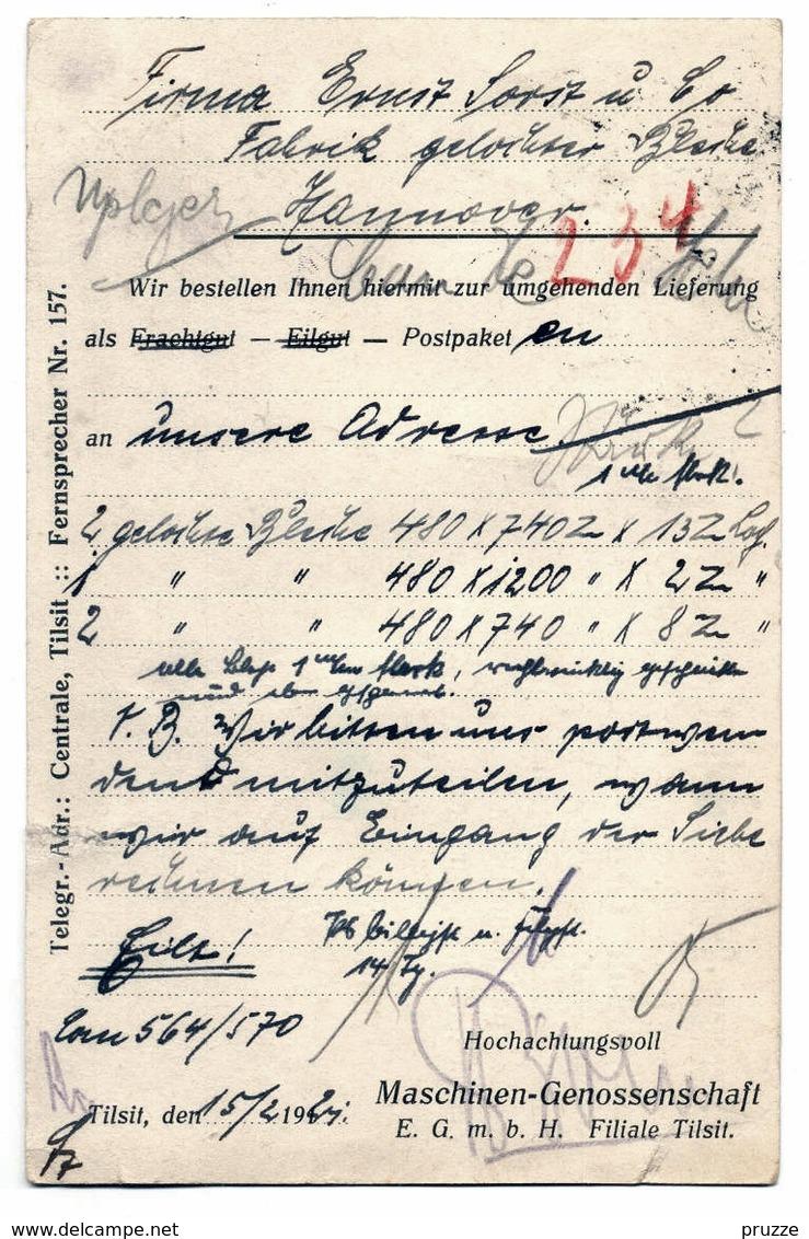Firmen - Ganzsache Maschinen-Genossenschaft Tilsit / Ostpreussen 1921 - Nach Hannover - Ganzsachen
