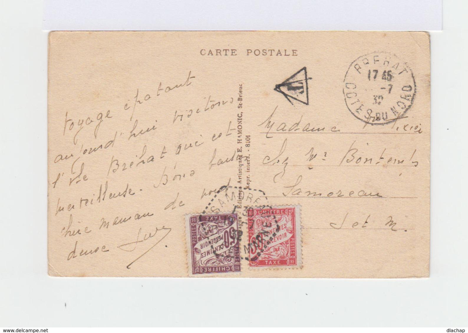 Sur Carte Postale Ile De Bréhat Deux Timbres Taxe. CAD Hexagonal 1932 Samoreau. Cachet T Dans Triangle. (778) - Taxes