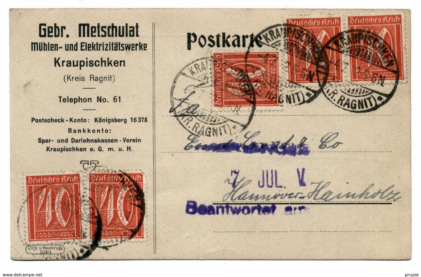 Firmen - Ganzsache Mühlen- U. Elektrizitätswerke Kraupischken, Kr. Ragnit / Ostpreussen 1922 - Nach Hannover - Ganzsachen