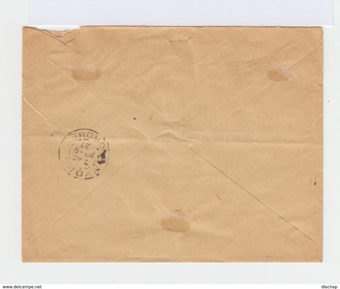 Sur Enveloppe Recommandé Trois Semeuses Lignées 50 C. Rouge. CAD Valence 1927. (780) - Marcophilie (Lettres)
