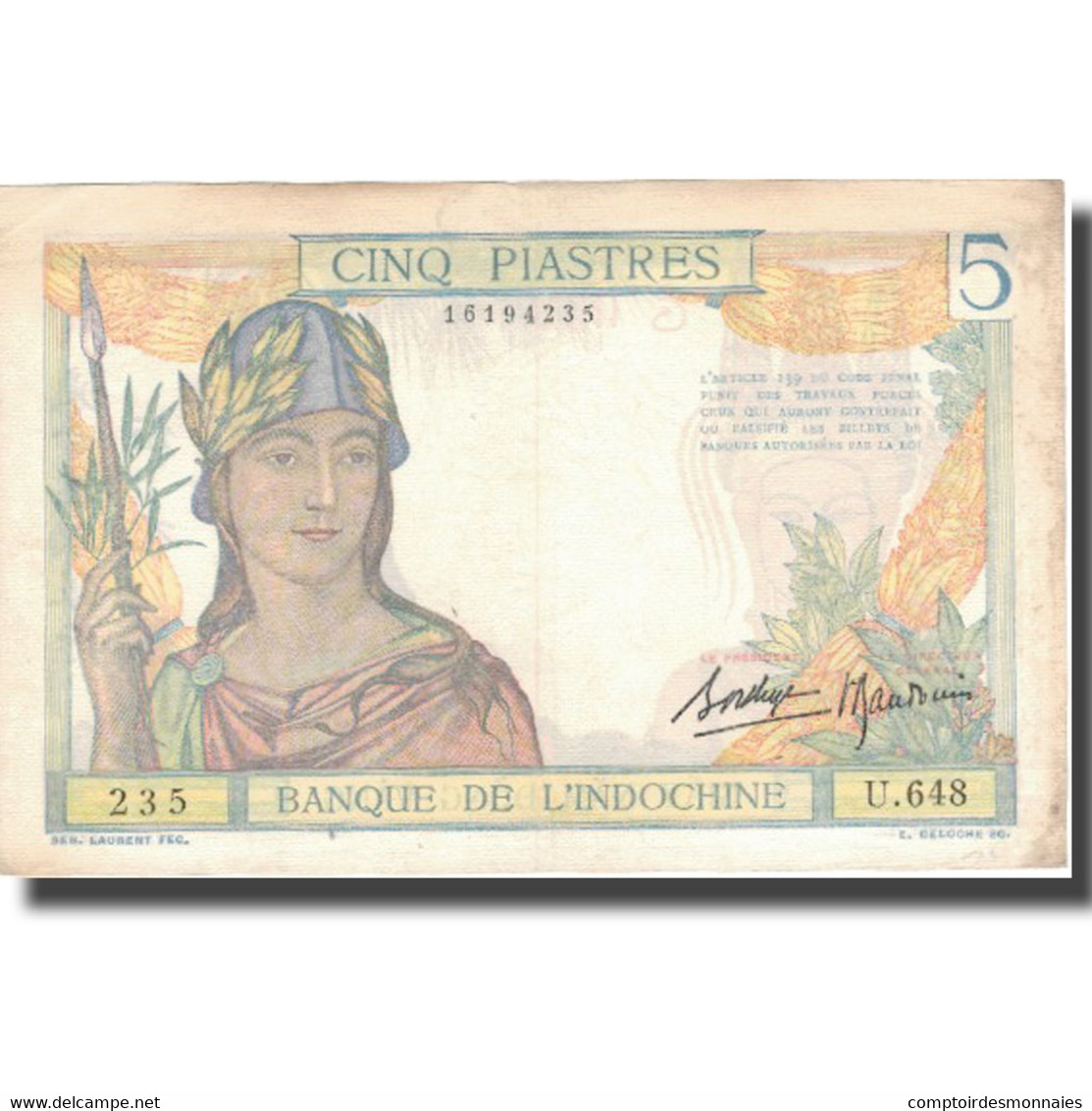 Billet, FRENCH INDO-CHINA, 5 Piastres, Undated (1936), KM:55b, TTB - Indochine
