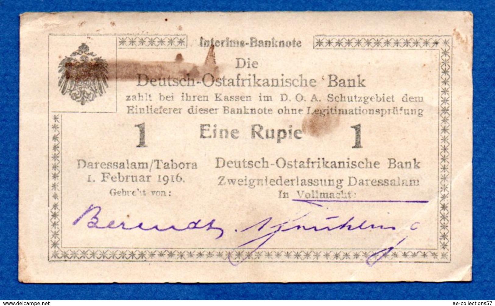 DOA  -   1 Rupie  --  1 /2/1916  -- état  TTB - [12] Colonies & Banques étrangères