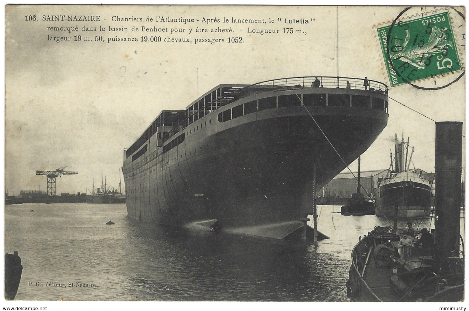 Saint Nazaire Chantiers De L'Atlantique - Lancement Du Lutetia Remorqué Dans Le Bassin De Penhoet Pour Y Etre Achevé - Paquebots