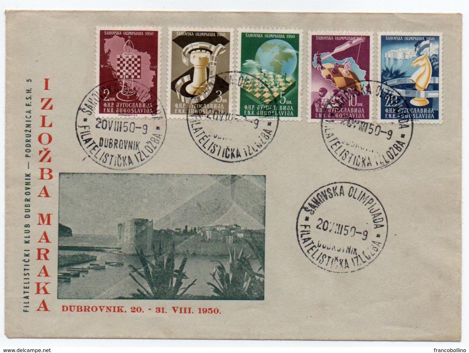 YUGOSLAVIA - FDC CHESS OLYMPICS DUBROVNIK 1950 - Storia Postale