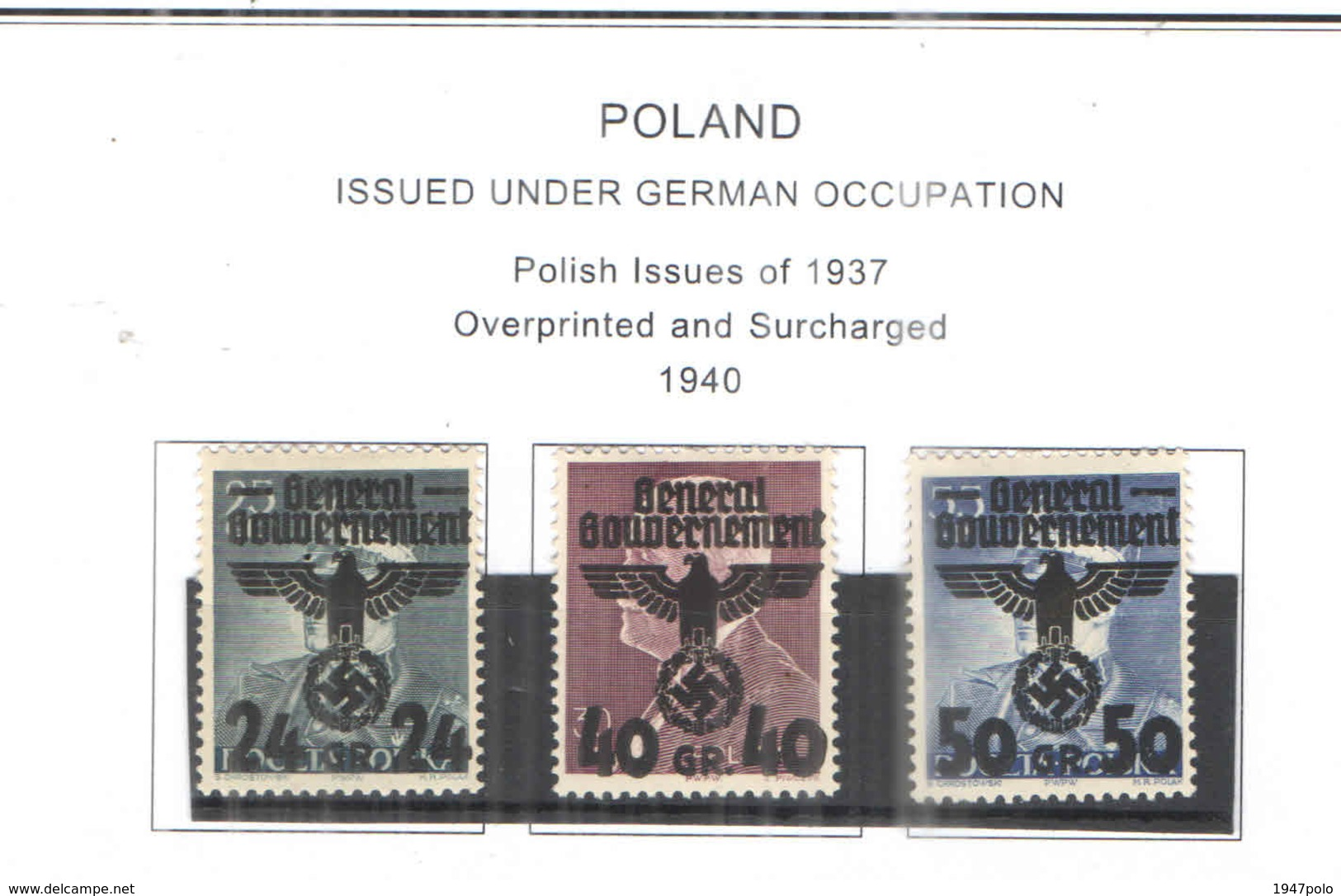 Polonia Occup.Ted.1940 Polish Em.1937 Ovpr. E Surch.Scott.N 30+31+32 NEW See Scan On Scott.Page - 1939-44: World War Two