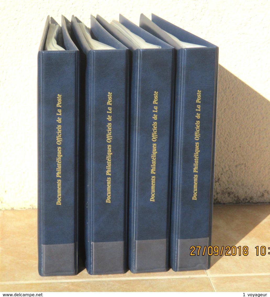 FRANCE - 4 Classeurs Documents Philatéliques Officiels La Poste + 200 Pochettes 21x29,7 - Très Bon état. - Reliures Seules
