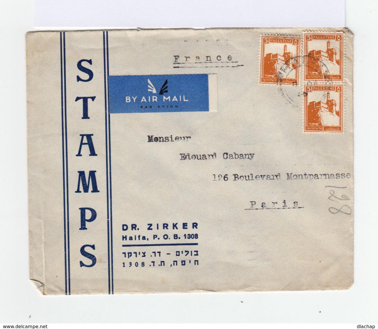 Sur Enveloppe By Air Mail De Palestine 1936 Paire De 5 C. Jaune Orange Citadelle De Jérusalem Et Un Timbre Idem. (787) - Palestine