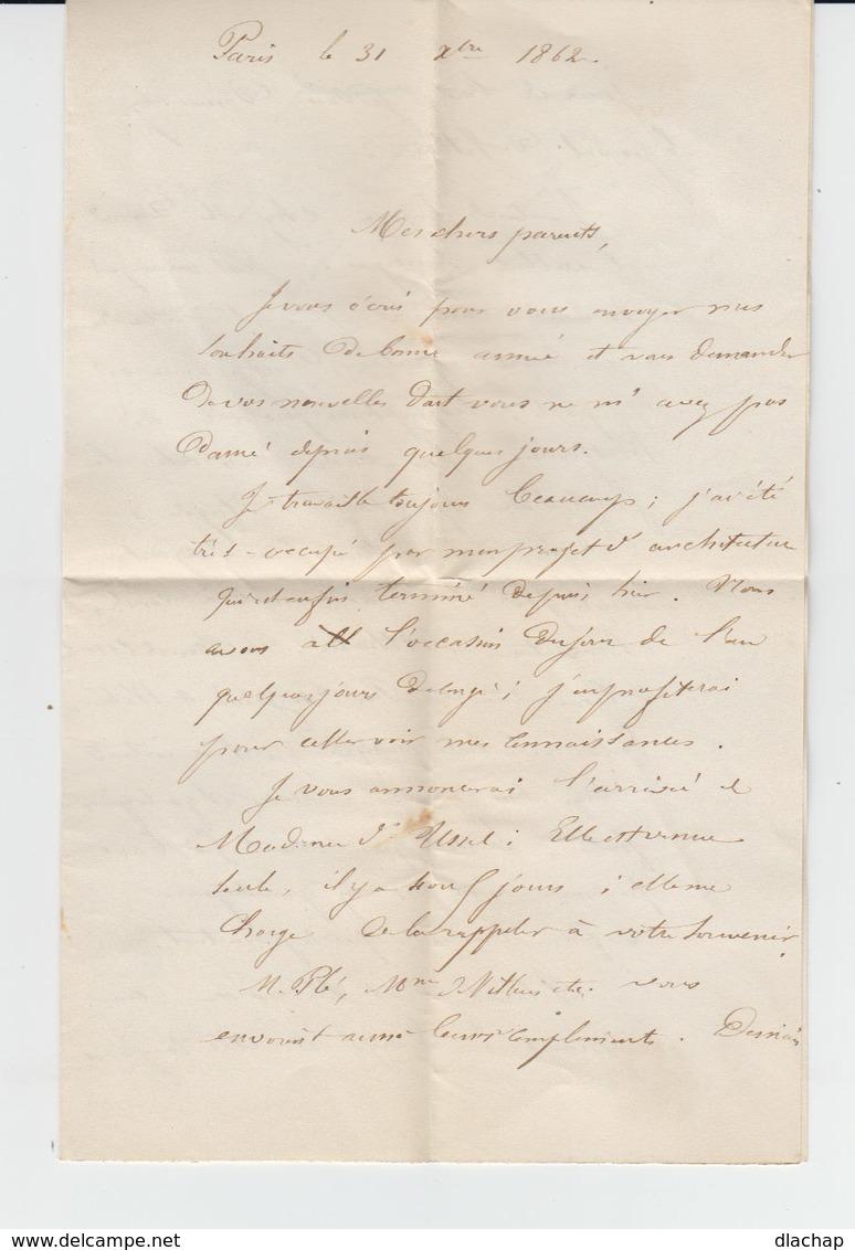 Sur Enveloppe Type Empire Franc Napoléon III 20 C Bleu. Oblitération Losange Et Lettre. CAD E F H Paris 1862. (788 - Marcophilie (Lettres)
