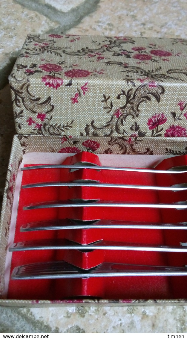 Durinox - Coffret Carton Aux Fleurs - 6 Petites Cuillères Plates-  Spécial Glace & Dessert Glacé - Inox - Vers 1960 - Cuillères