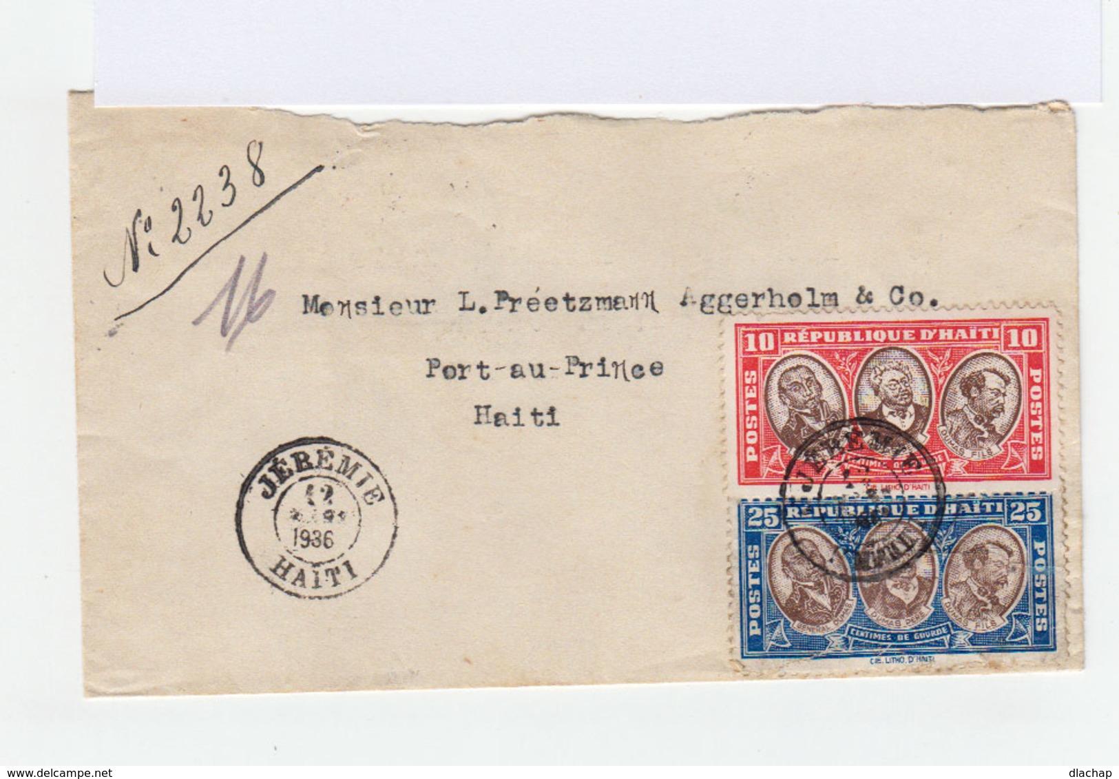 Sur Enveloppedeux Timbres Ha¨ti CAD Jérémie 1936. (792) - Haïti