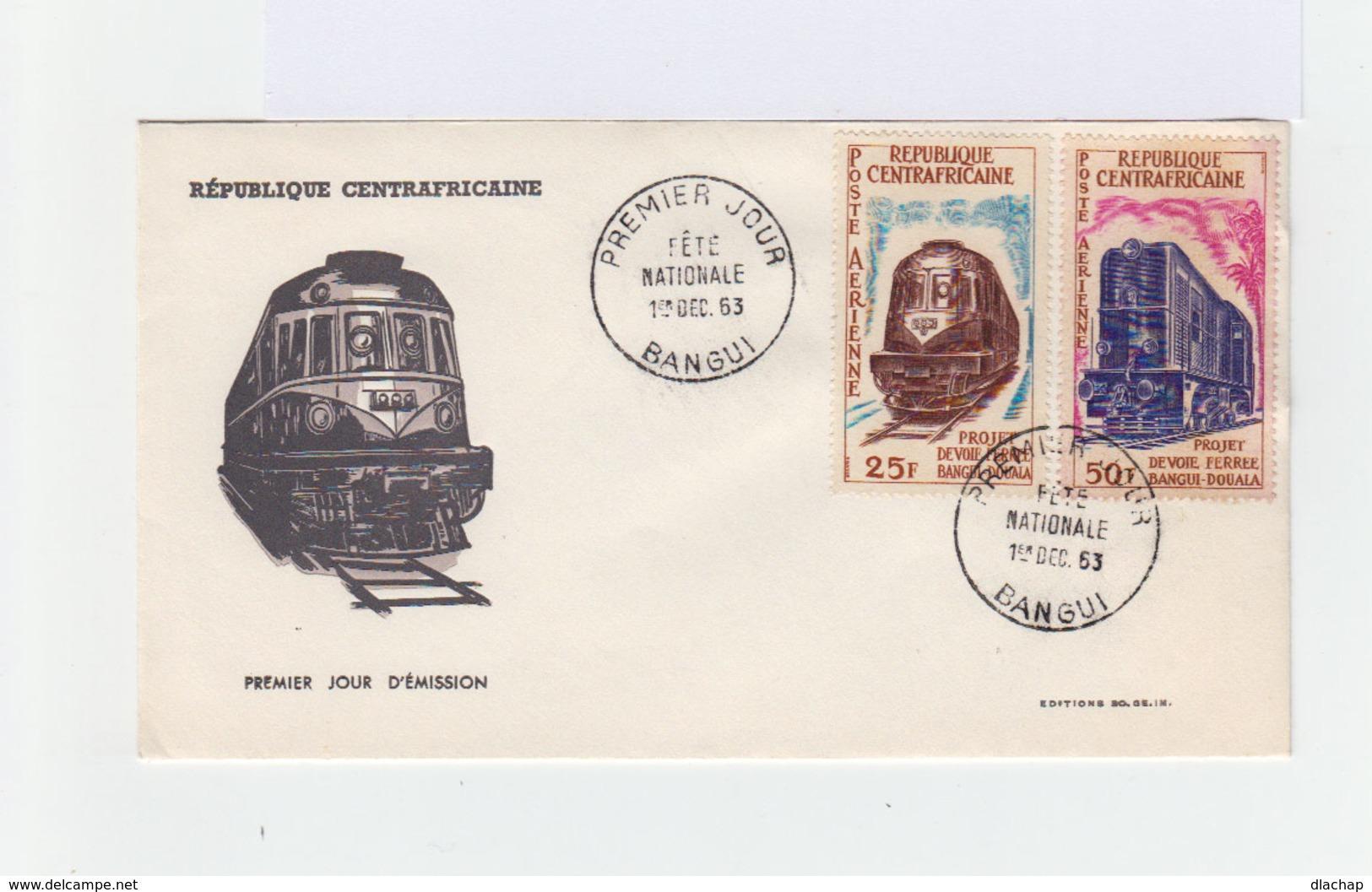 Enveloppe Premier Jour. Cahet Fête Nationale 1er Déc. 1963 Bangui.Timbres Projet Voie Ferrée Bangui Douala. (793) - Centrafricaine (République)