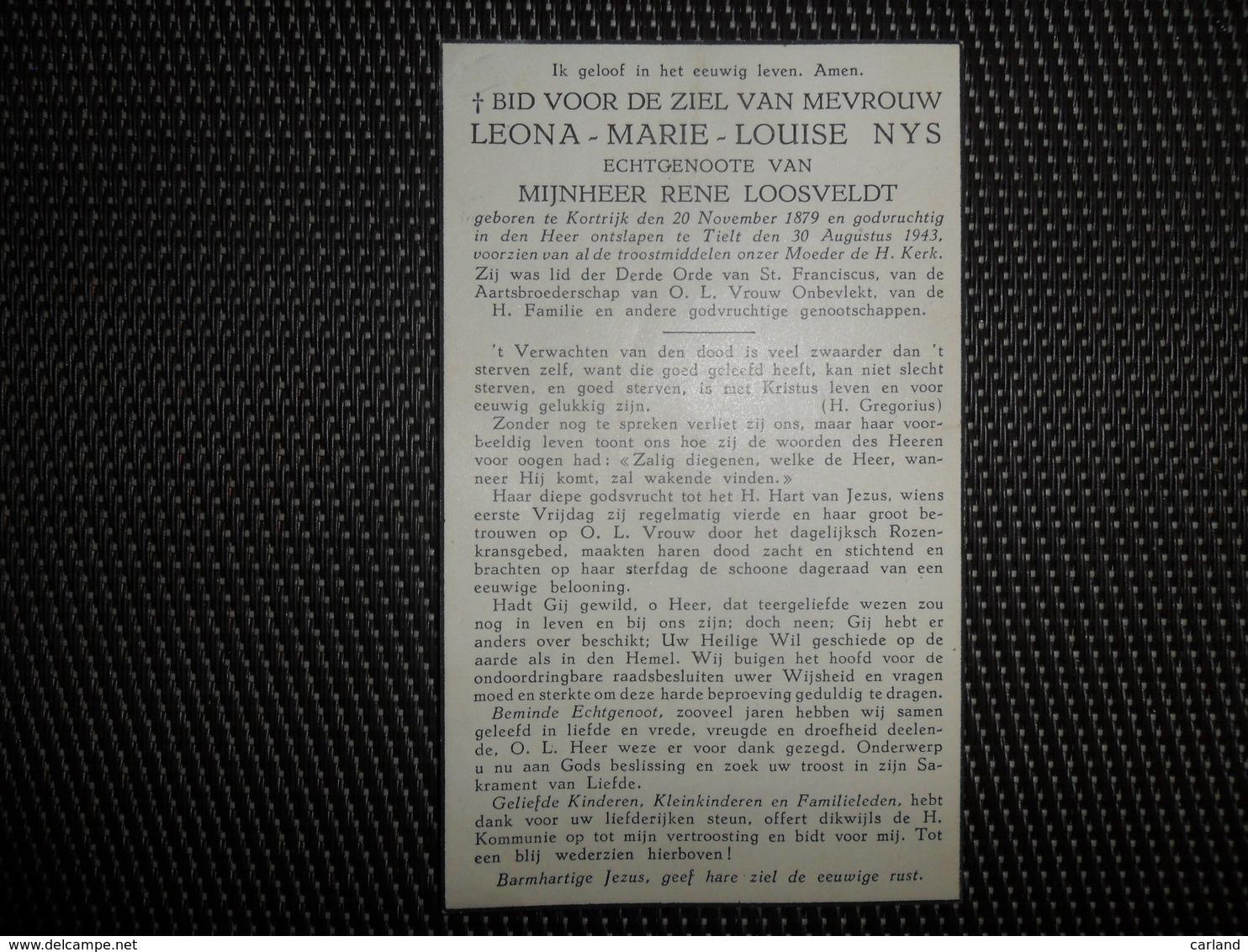 Doodsprentje ( F 53 ) Nys / Loosveldt   -  Courtrai  Kortrijk -  Tielt    -  1943 - Esquela