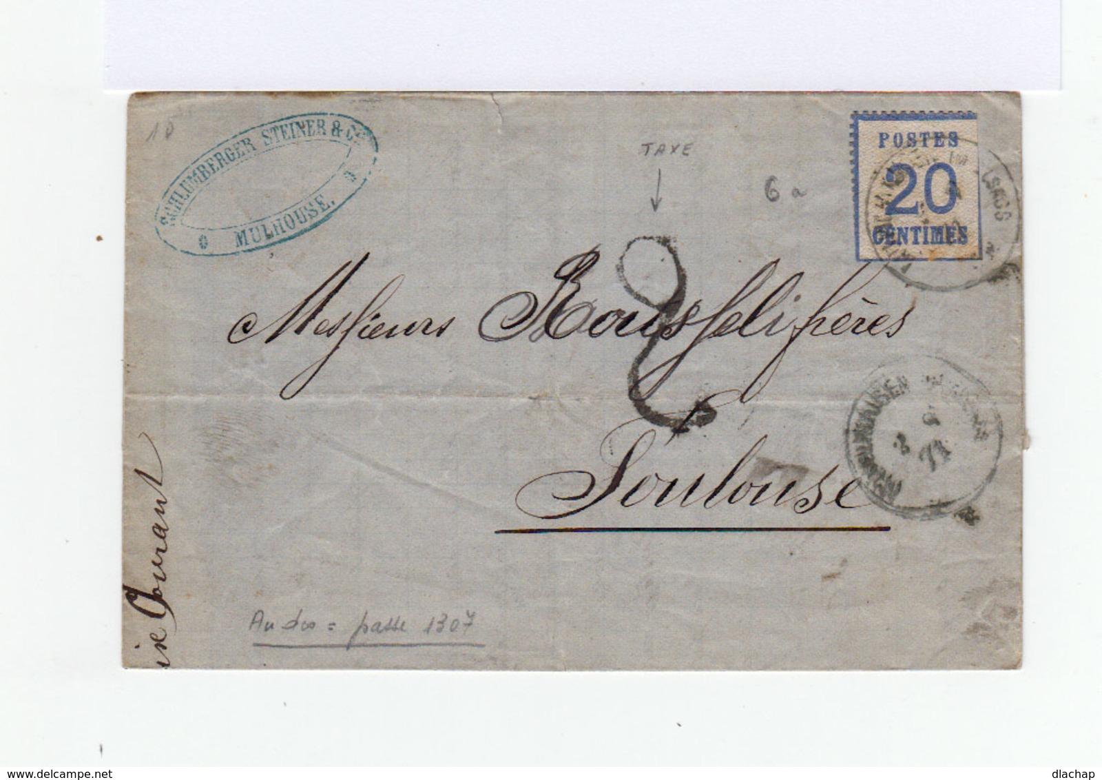 Sur Lettre Timbre Dit D'Alsace Lorraine  20 C. Bleu . CAD Mulhausen 1871.  Cachet Bureau De Passe 1307. (796) - Marcophilie (Lettres)