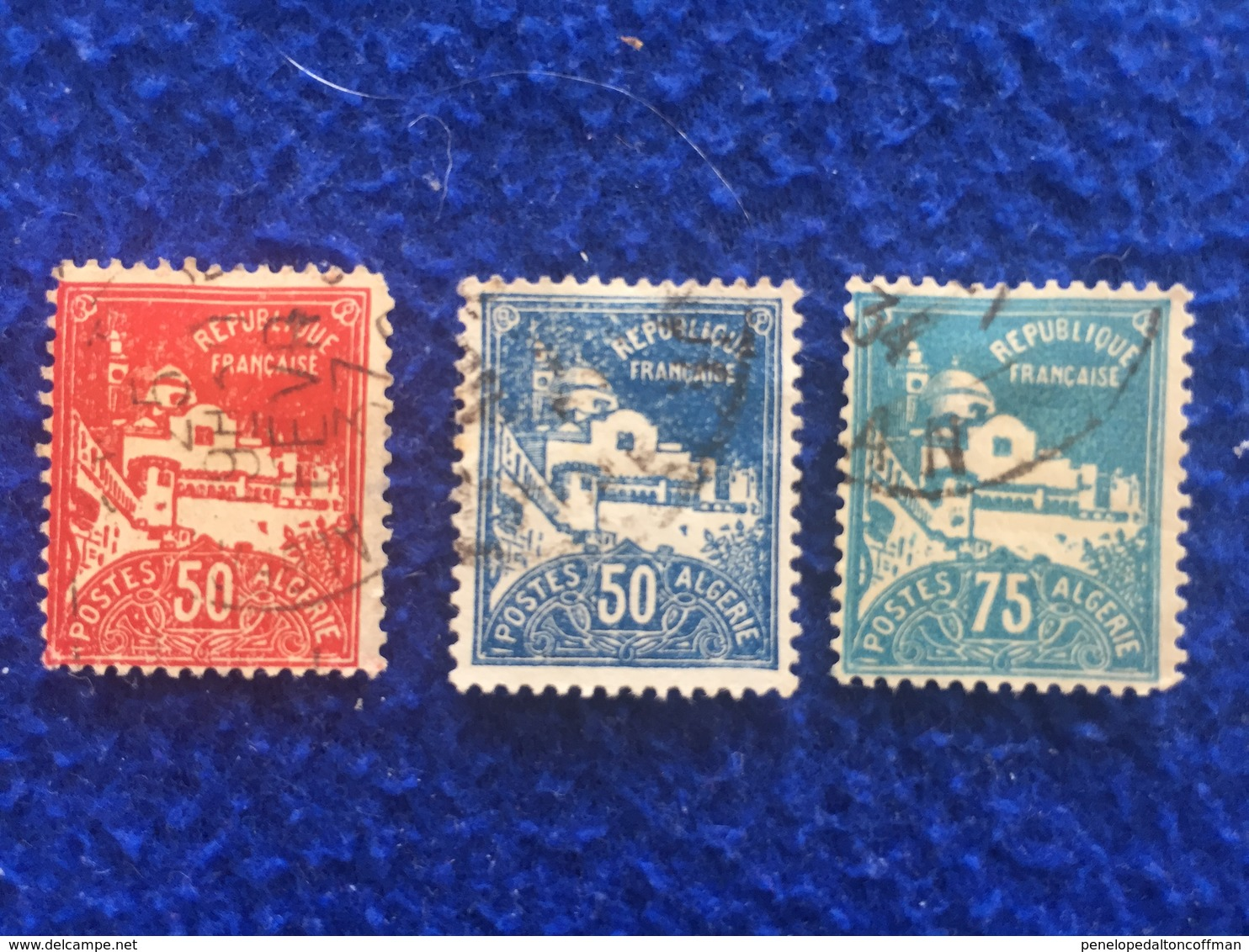 Set Of 3 Stamps: Algeria, 1926 Mosque  Of The Fisherman - Africa (Other)