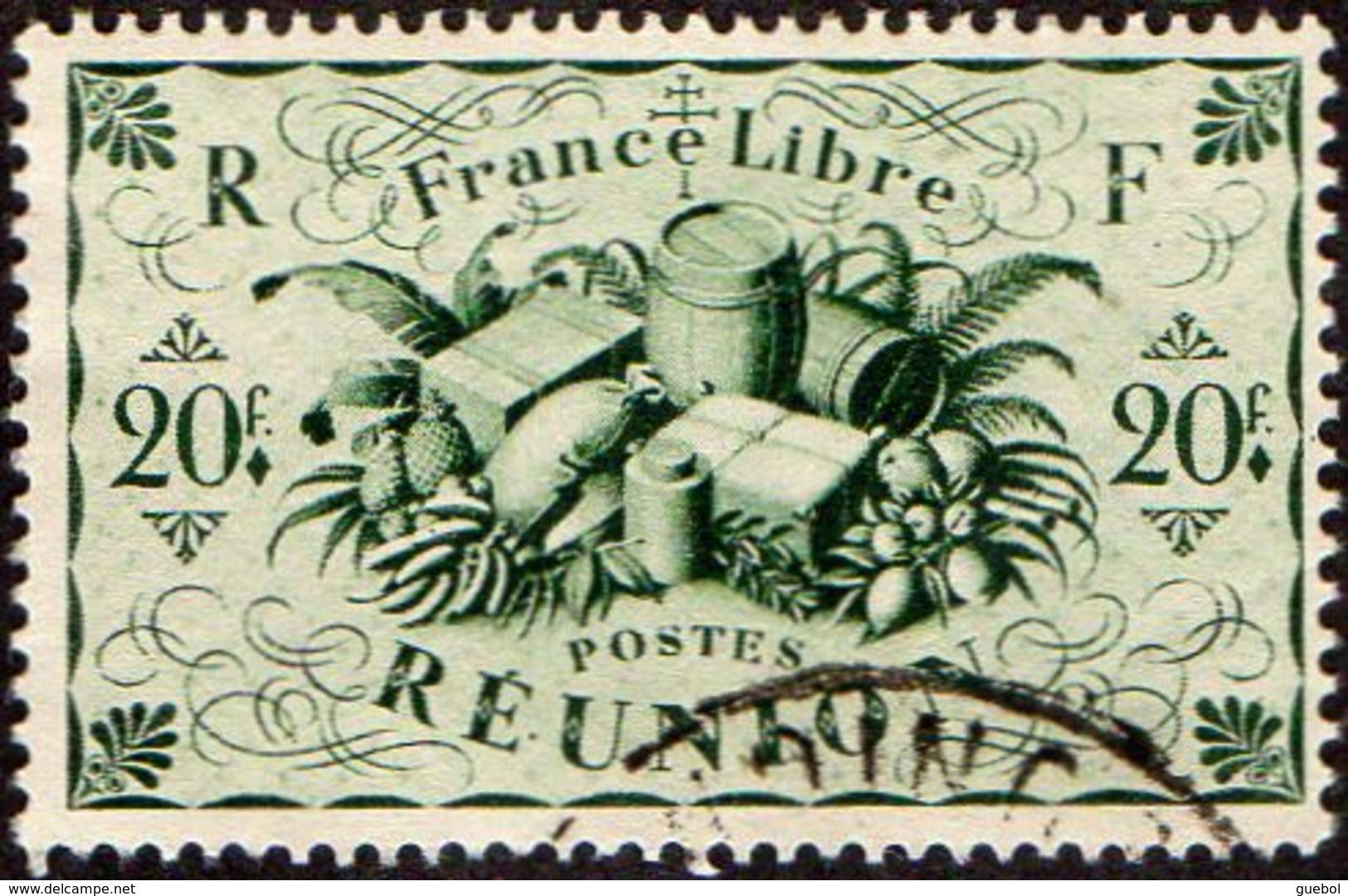 Réunion Obl. N° 246 - Détail De La Série De LONDRES De 1943 - Productions - 20frs Vert - Réunion (1852-1975)